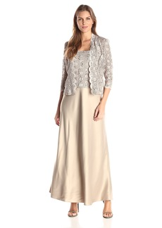 Alex Evenings Women's Mock Two-Piece Lace Charmeuse Jacket Dress  18
