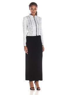 Alex Evenings Women's Modern Wavy Pencil Stripe Zip Jacket with Tank Dress
