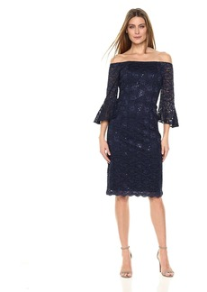 Alex Evenings Women's Off The Shoulder All Over Lace Dress With Bell Sleeves
