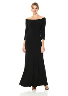 Alex Evenings Women's Off The Shoulder Long Sleeve Dress with Beaded Detail