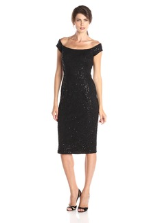 Alex Evenings Women's Short Off The Shoulder Dress with Sequin Detail