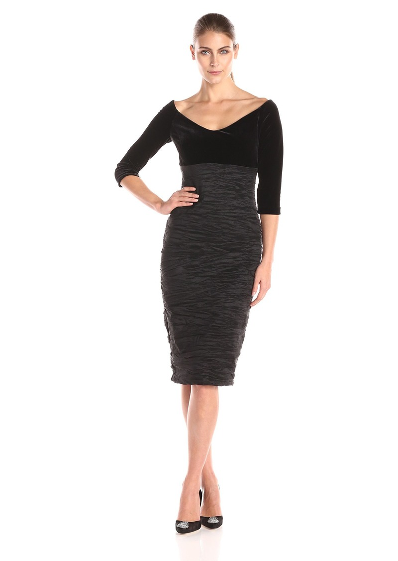 Alex Evenings Women's Off-The-Shoulder Velvet Sleeve Sheath Dress