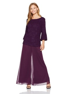 Alex Evenings Women's Petite 2-Piece Pantsuit with Bell Sleeve Tunic Blouse (Regular Sizes)  6P
