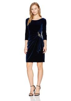 Alex Evenings Women's Petite 3/4 Sleeve Velvet Dress With Embellishment At The Hip (Regular Sizes)  6P