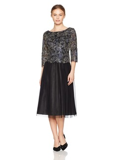 Alex Evenings Women's Petite Embroidered Mock Dress With Tulle Skirt (Regular Sizes)  16P