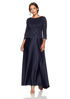 Alex Evenings Women's Petite Long Mock Dress With Full Circle Satin Skirt (Regular Sizes)  8P