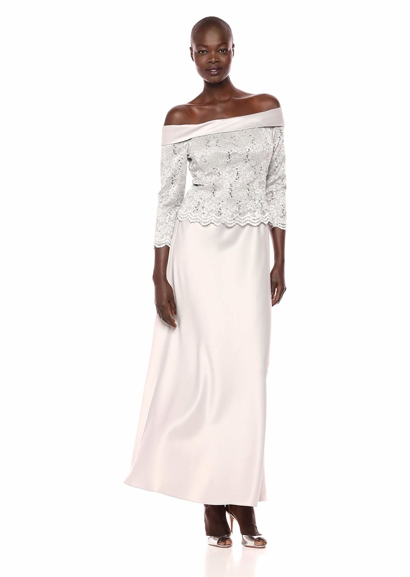 Alex Evenings Women's Petite Long Off The Shoulder Mock Dress with A-Line Skirt  6P