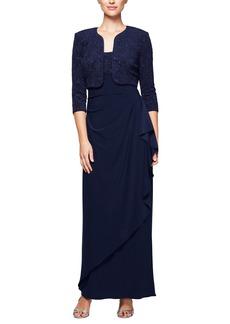 Alex Evenings Women's Petite Long Side Ruched Dress with Bolero Jacket  6P