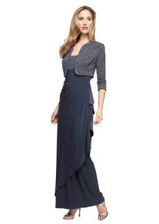Alex Evenings Women's Petite Long Side Ruched Dress With Bolero Jacket (Regular Sizes)  14P