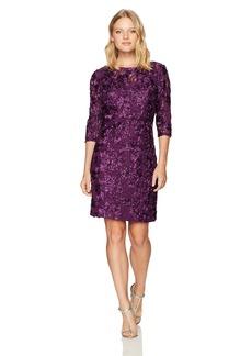 Alex Evenings Women's Petite Short Rosette Shift Dress With 3/4 Sleeves (Regular Sizes)  14P