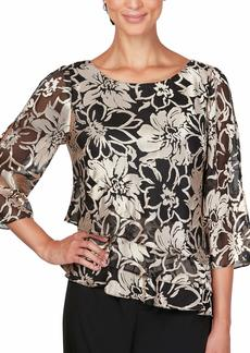 Alex Evenings Women's Plus Size Asymmetric Printed Chiffon Blouse