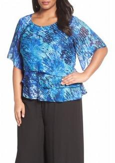 Alex Evenings Women's Plus Size Asymmetric Tiered Chiffon Blouse Shirt