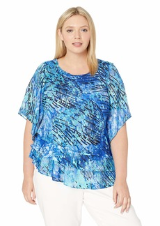 Alex Evenings Women's Plus Size Asymmetric Tiered Chiffon Blouse Shirt