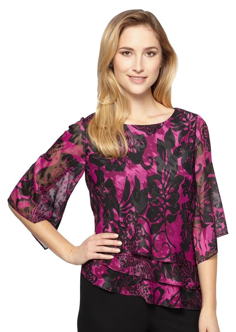 5547fc131f Alex Evenings Women s Plus Size Burnout Chiffon Blouse and Asymmetric Tier  Hem
