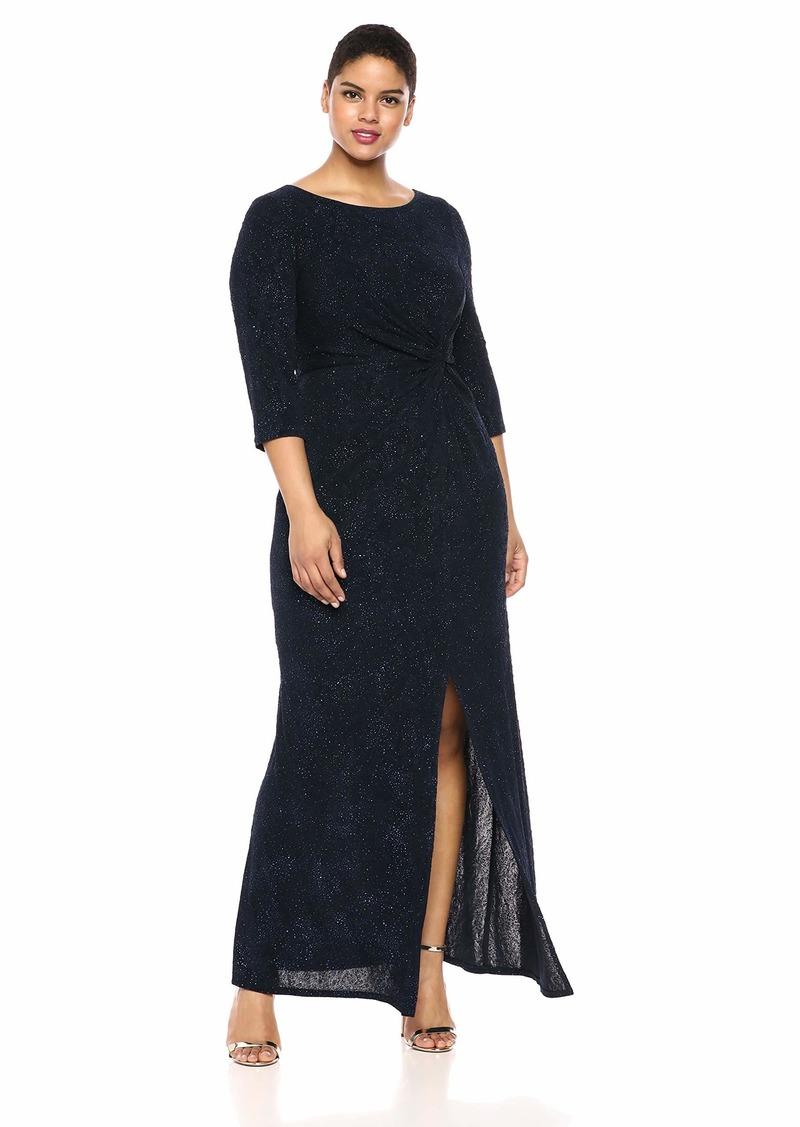 Alex Evenings Women's Plus Size Long Dress with Knot Front Detail