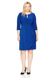 Alex Evenings Women's Plus Size Dress with Keyhole Cutout Royal 16W