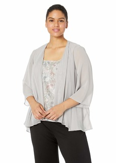 Alex Evenings Women's Plus Size Embroidered Tank Top and Jacket