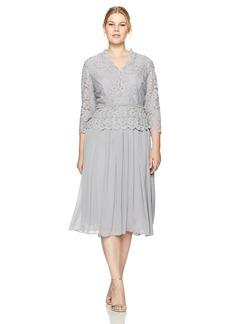 Alex Evenings Women's Plus Size Faux-Wrap Mock Lace Dress with Tea Length Skirt