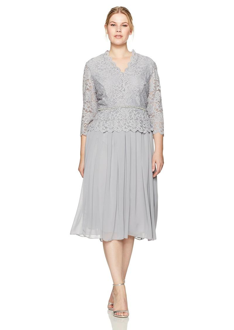 Women\'s Plus-Size Faux-wrap Mock Lace Dress with Tea Length Skirt