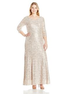 Alex Evenings Women's Plus-Size Fit and Flare Lace Dress