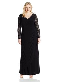 Alex Evenings Women's Plus Size Illusion Sleeve Evening Dress  W