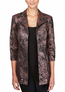 Alex Evenings Women's Plus Size Jacket and Scoop Tank Top Twinset Black/Bronze