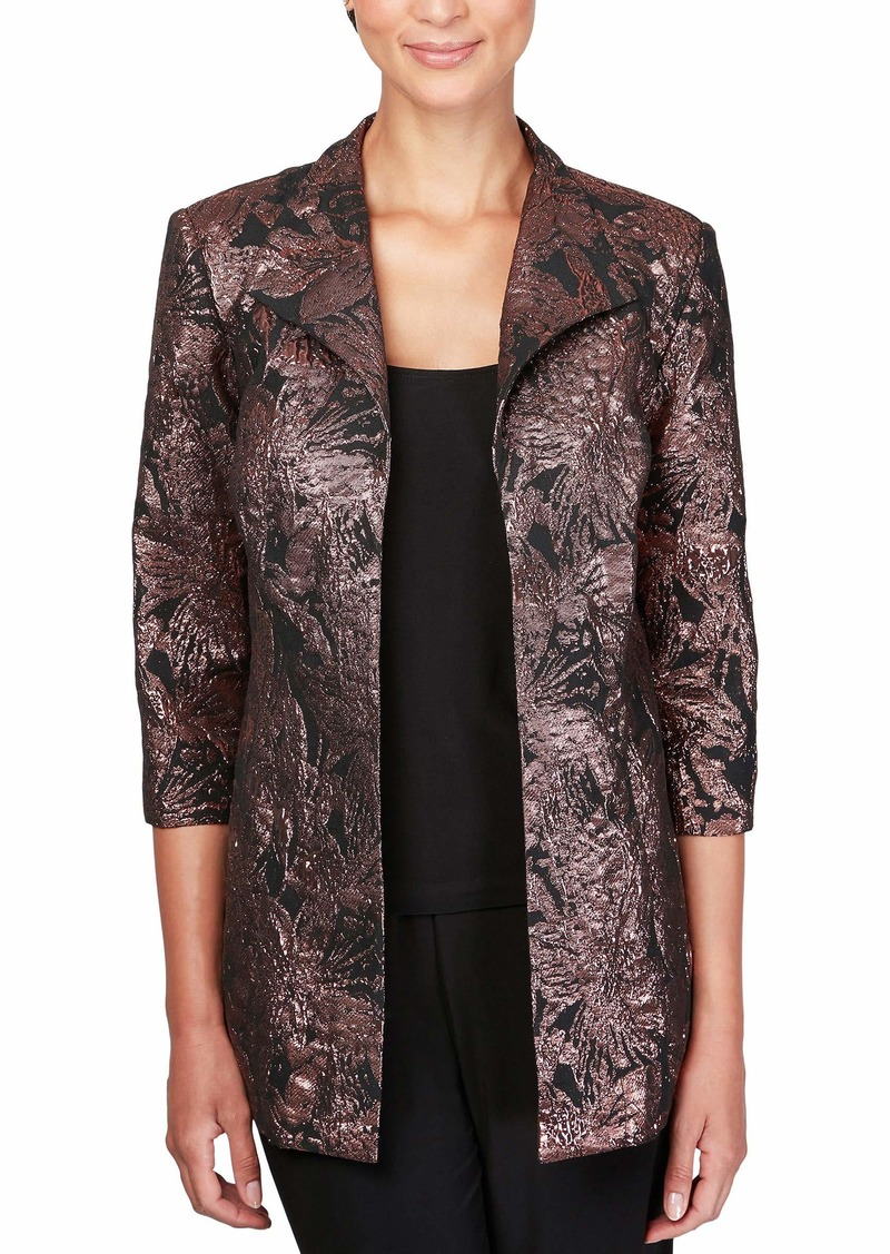 Alex Evenings Women's Plus Size Jacket and Scoop Tank Top Twinset Black/Bronze