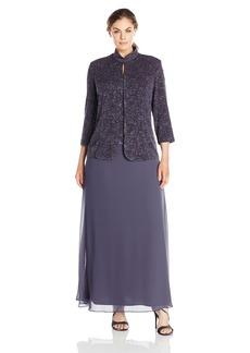 Alex Evenings Women's Plus Size Jacquard Knit Long Dress and Manadrin Jacket