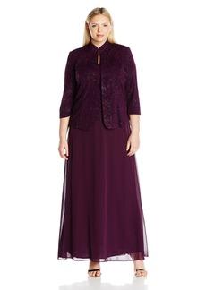Alex Evenings Women's Plus Size Jacquard Knit Long Dress and Manadrin Jacket  W