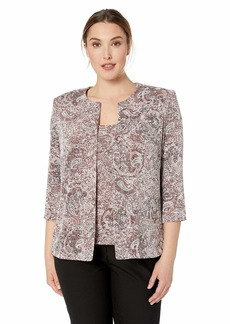 Alex Evenings Women's Plus Size Jewel Neck Glitter Knit Twinset Tank Top Jacket Rose Paisley
