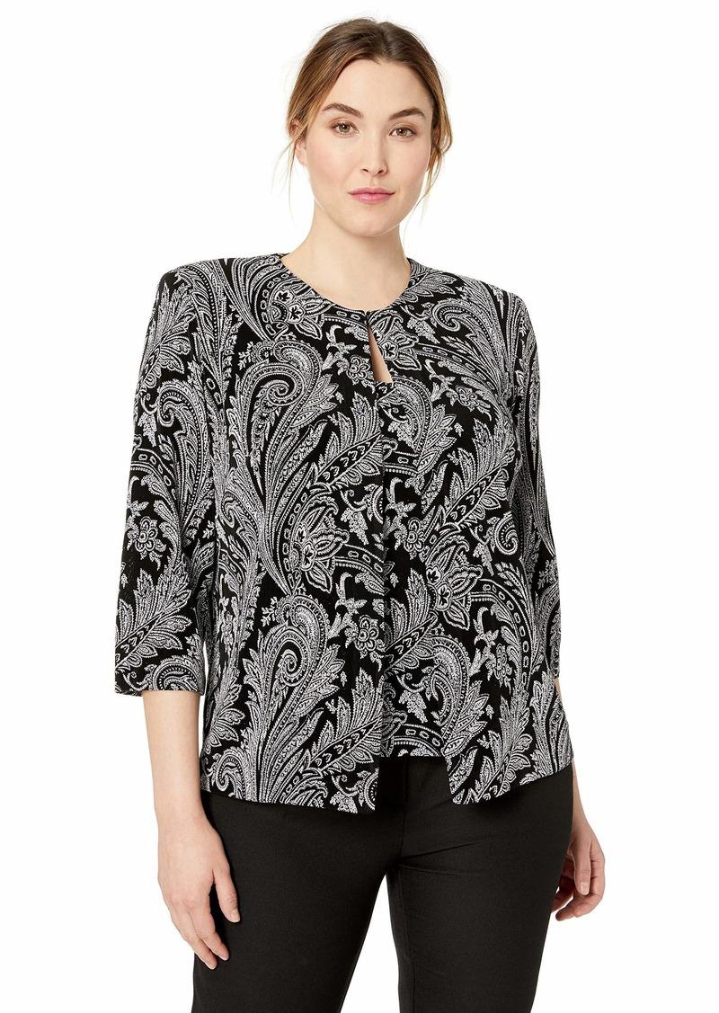 Alex Evenings Women's Plus Size Jewel Neck Glitter Knit Twinset Tank Top Jacket