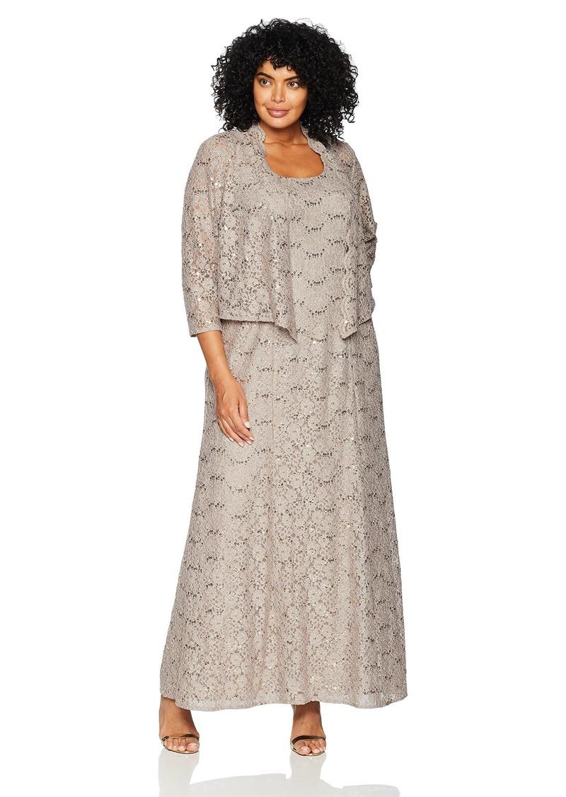 Alex Evenings Women's Plus-Size Long A-Line Scoop Neck Dress with Jacket