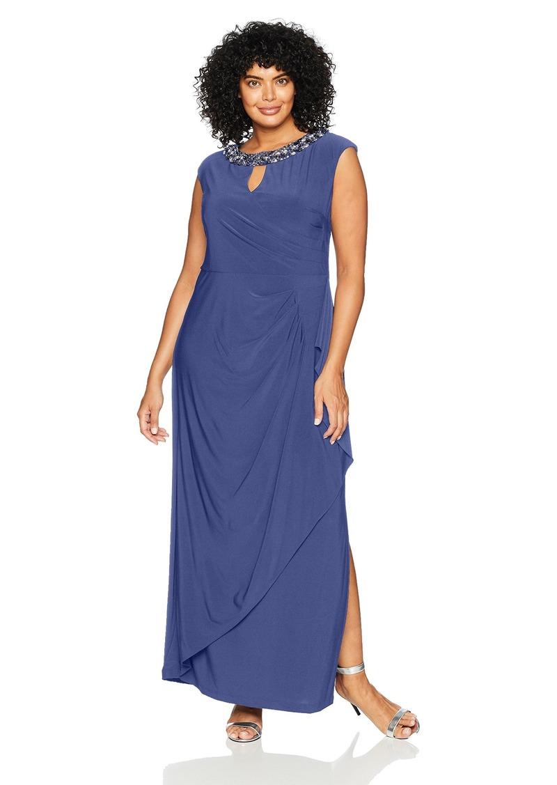 Women\'s Plus-Size Long Cap Sleeve Dress with Cutout