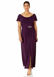 Alex Evenings Women's Plus Size Long Cowl Neck A-Line Dress