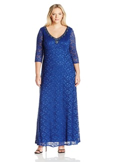 Alex Evenings Women's Plus Size Long Empire Waist V-Neck Dress  W