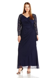 Alex Evenings Women's Plus Size Long Evening Gown With Illusion Sleeves Dress