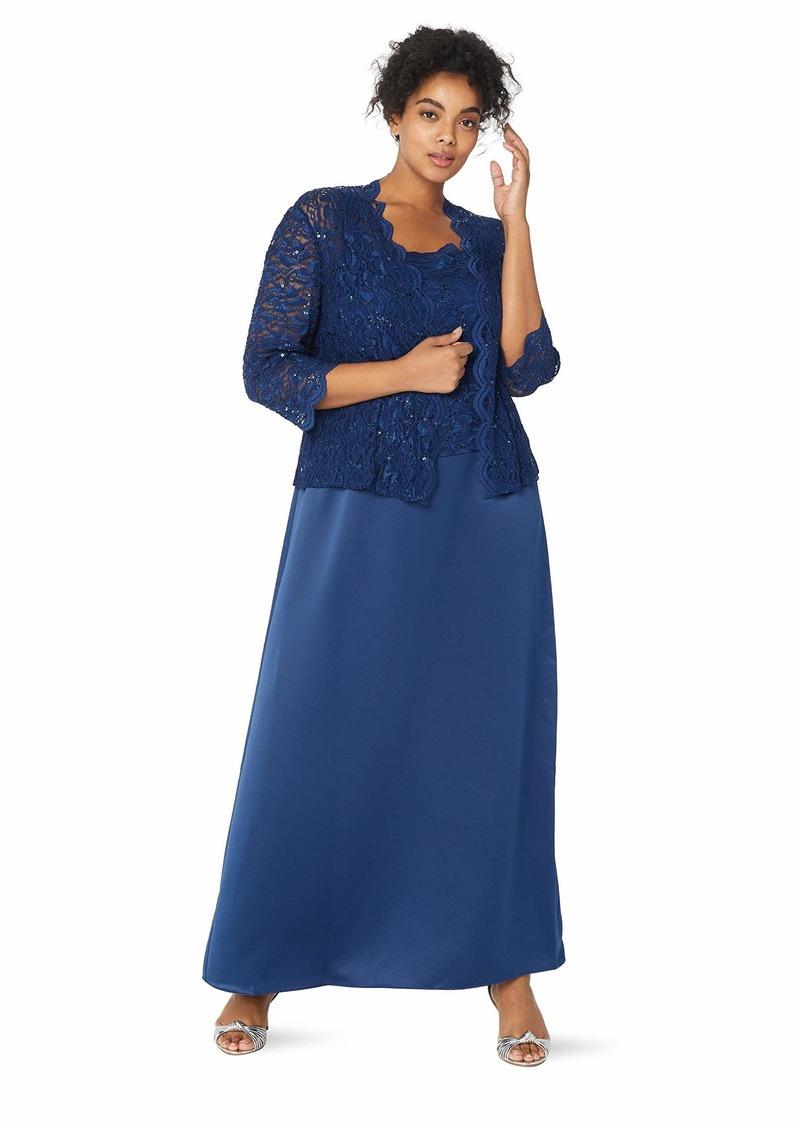 Alex Evenings Women's Plus Size Long Lace Satin A-Line Mock Jacket Dress