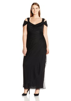 Alex Evenings Women's Plus-Size Long Cold Shoulder Dress with Side Ruched Skirt  W