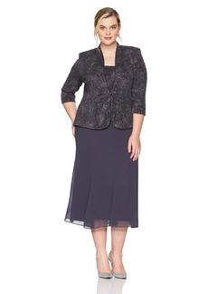 Alex Evenings Women's Plus Size Long Side Ruched Dress with Bolero Jacket  24W