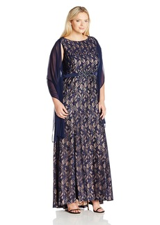Alex Evenings Women's Plus Size Long Sleeveless Dress with Beaded Detail and Shawl  W