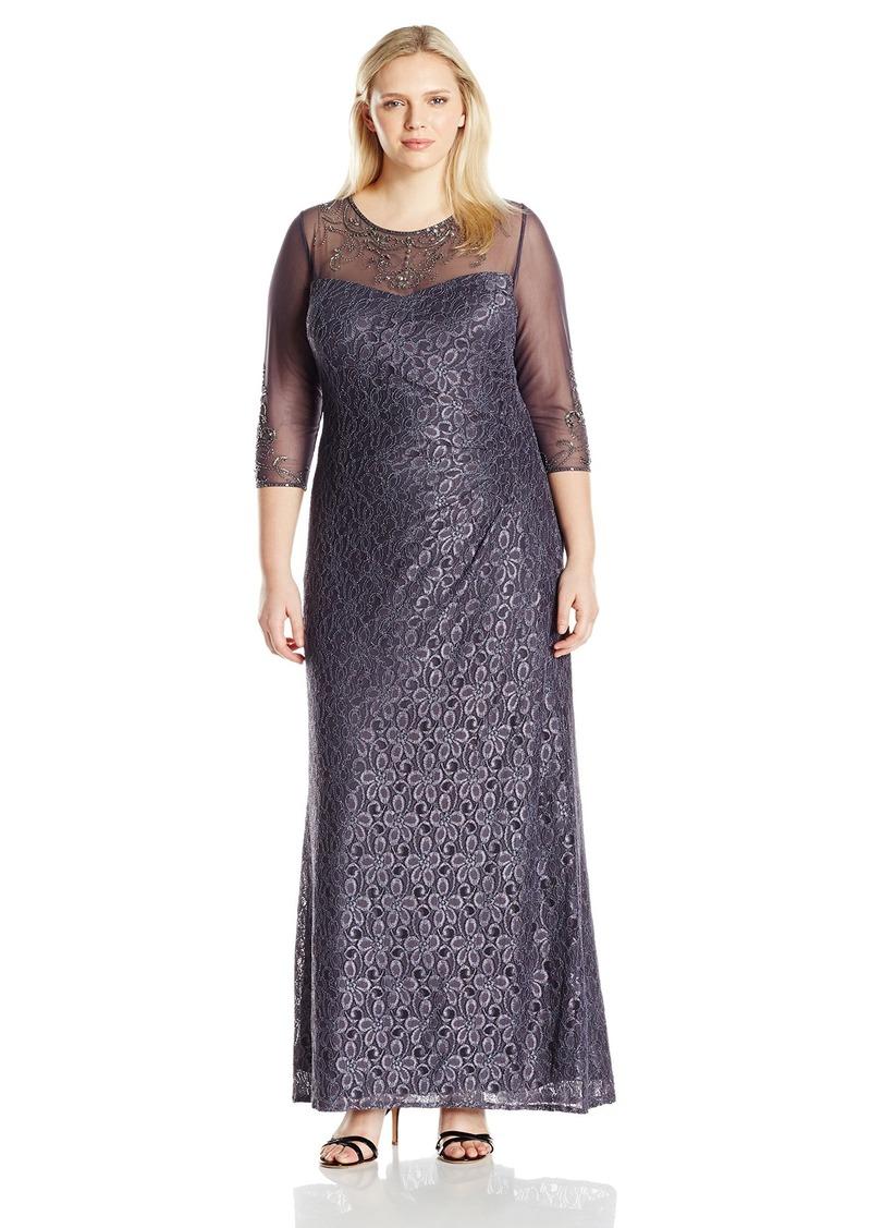 Alex Evenings Women's Plus Size Long Sweetheart Neckline Dress and Illusion Neckline