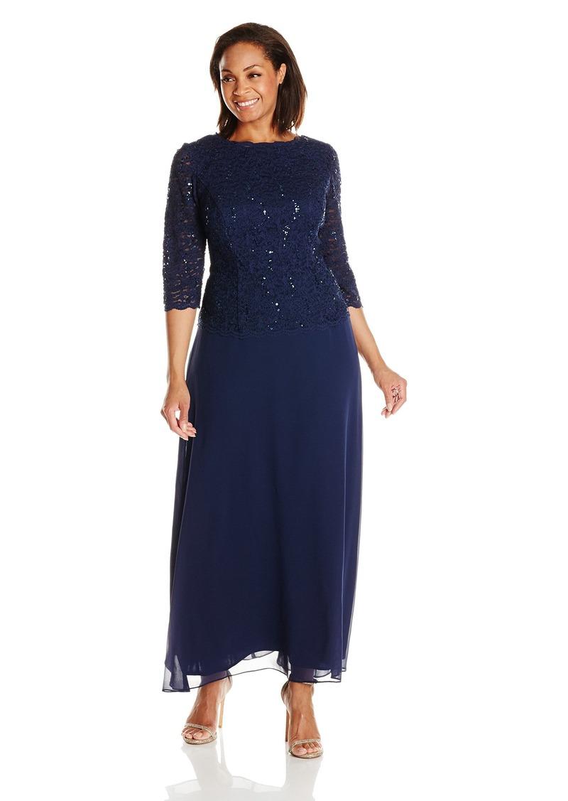Alex Evenings Women's  Plus Size Long Tea-Length Lace Mock Dress Navy