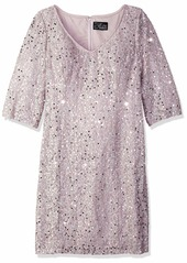 Alex Evenings Women's Plus-Size Midi Length V-Neck Shift Dress with Sleeves