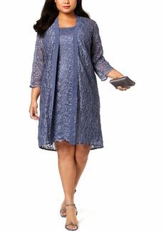 Alex Evenings Women's Plus-Size Midi Scoop Neck Shift Dress with Chiffon Jacket