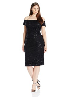 Alex Evenings Women's Plus Size Off the Shoulder Sequin Lace Dress  W