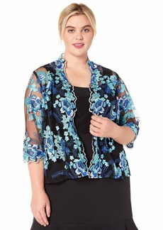 Alex Evenings Women's Plus-size Plus Size Jacket and Scoop Tank Top Twinset Shirt -black/Multi Blue floral embroidered