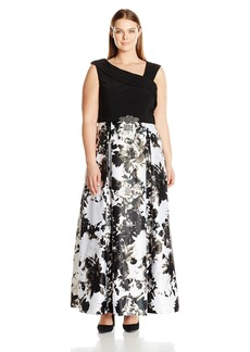 Alex Evenings Women's Plus Size Printed Ball Gown Dress  16W