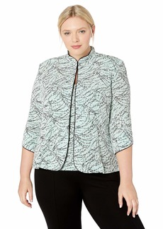Alex Evenings Women's Plus Size Printed Twinset with Tank Top and Jacket