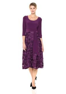 Alex Evenings Women's Plus Size Scoop Neck T-Length Party Dress with Rosette Skirt