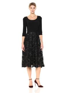 Alex Evenings Women's Plus Size Scoop Neck Tea Length Dress With Rosette Skirt (Petite and Regular)